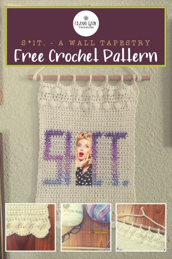 "Crocheted wall art that says ""Shit."" Represents a crochet pattern that is available from Classy Lady Yarnworks"