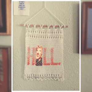 "Crocheted wall art that says ""Hell."" Represents a crochet pattern that is available from Classy Lady Yarnworks"
